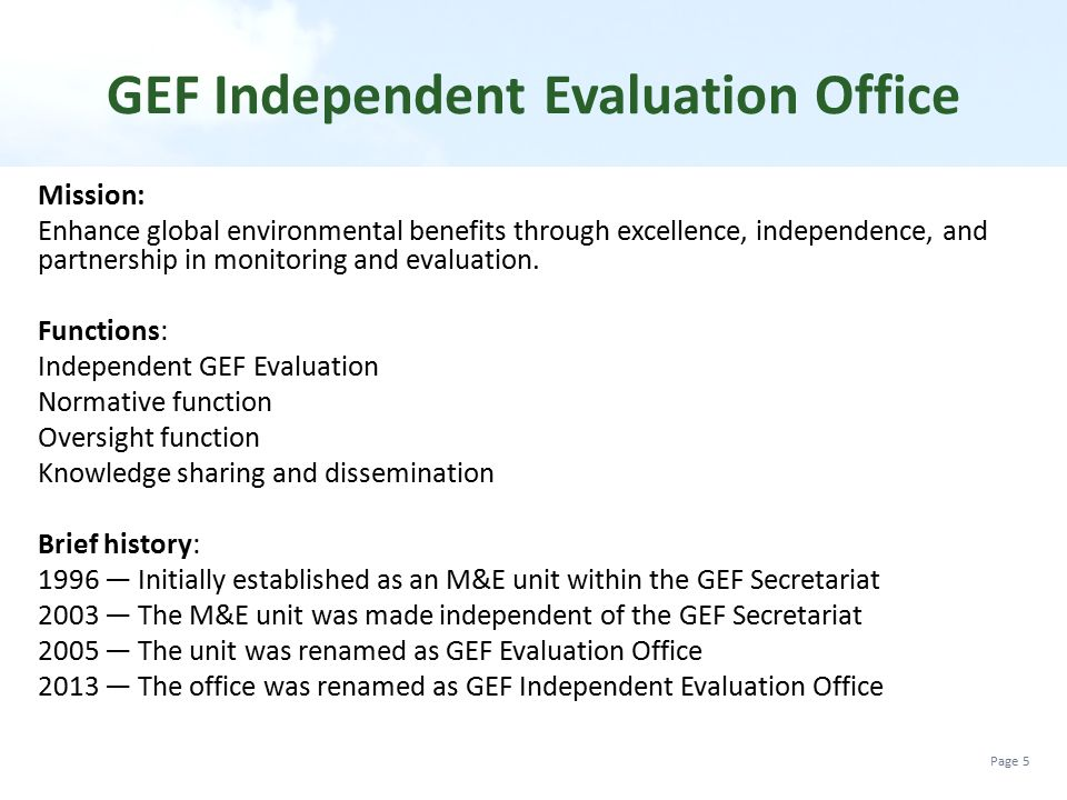 Evaluation in the GEF and Training Module on Terminal Evaluations ...