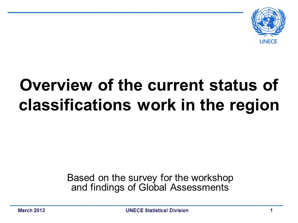 Overview of the current status of classifications work in the region