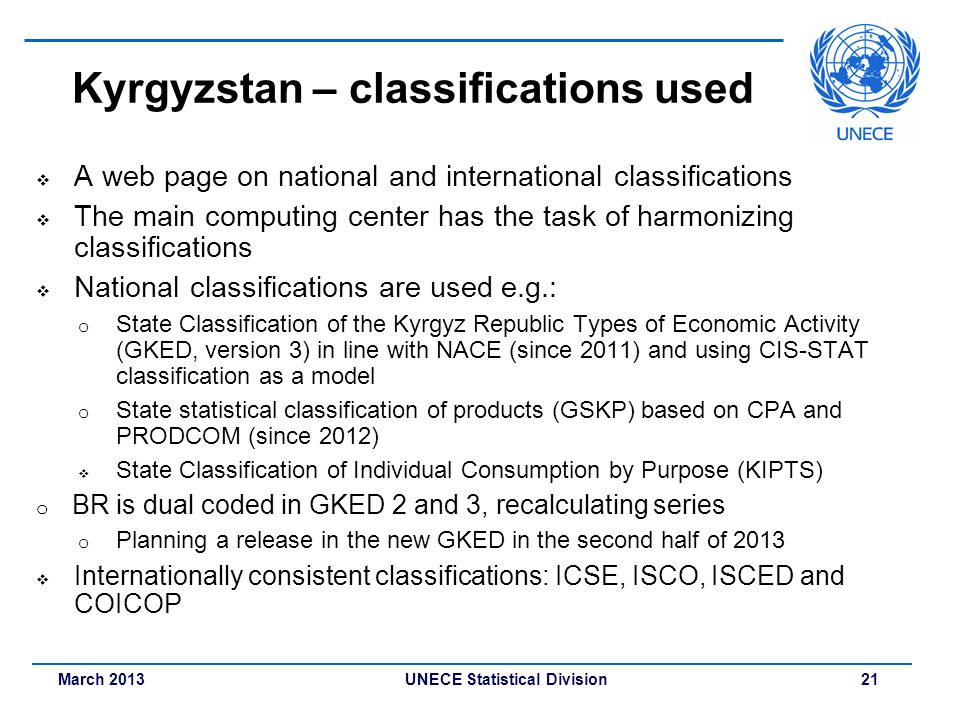 Kyrgyzstan – classifications used