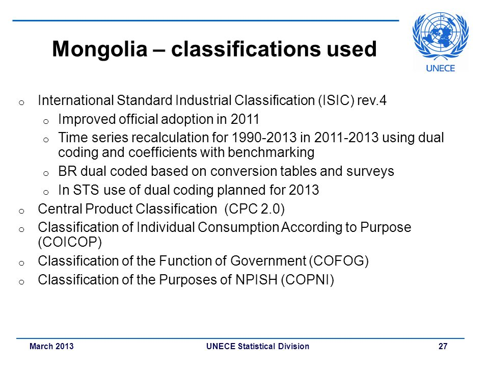 Mongolia – classifications used
