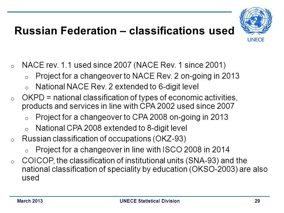 Russian Federation – classifications used