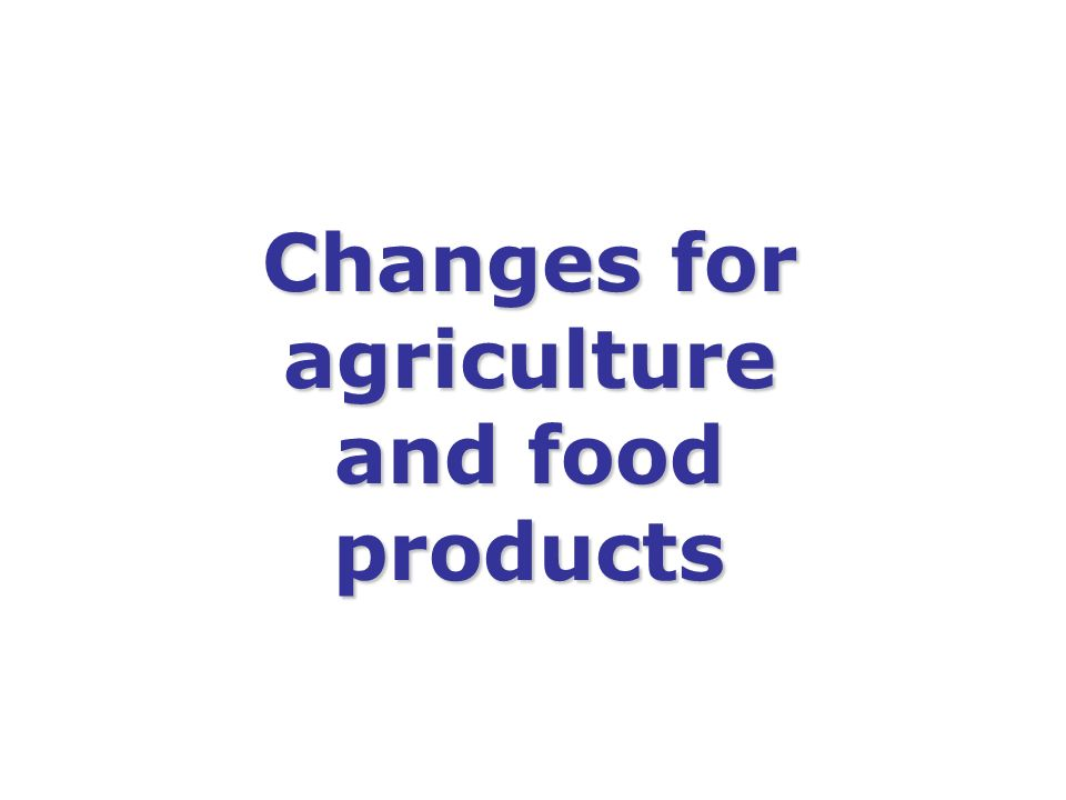 Changes for agriculture and food products