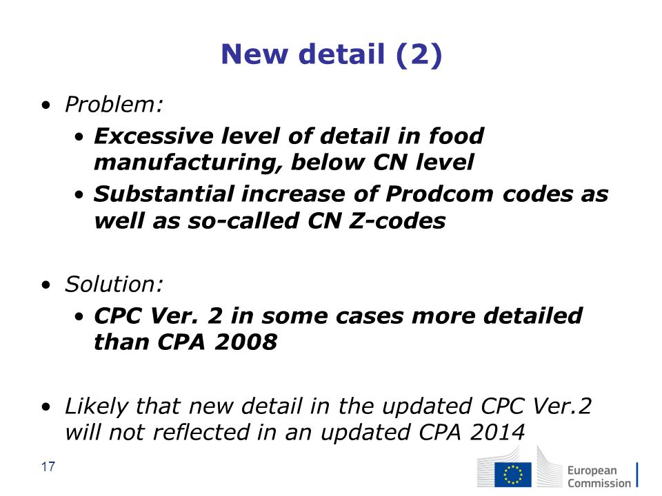 New detail (2) Problem: Excessive level of detail in food manufacturing, below CN level.
