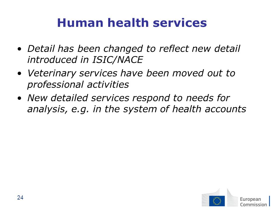 Human health services Detail has been changed to reflect new detail introduced in ISIC/NACE.