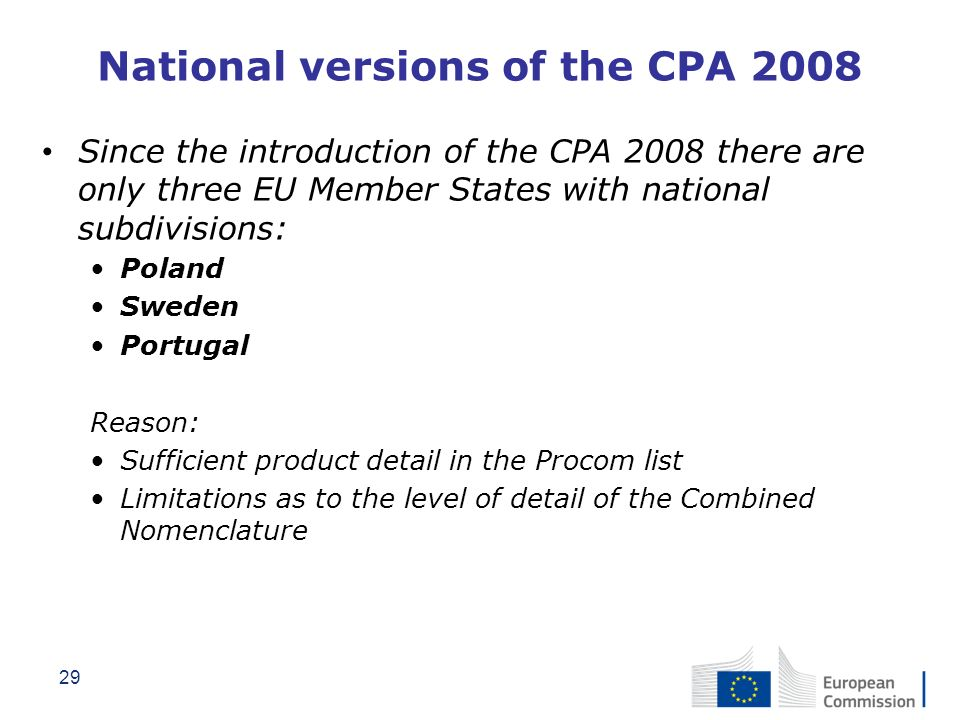 National versions of the CPA 2008