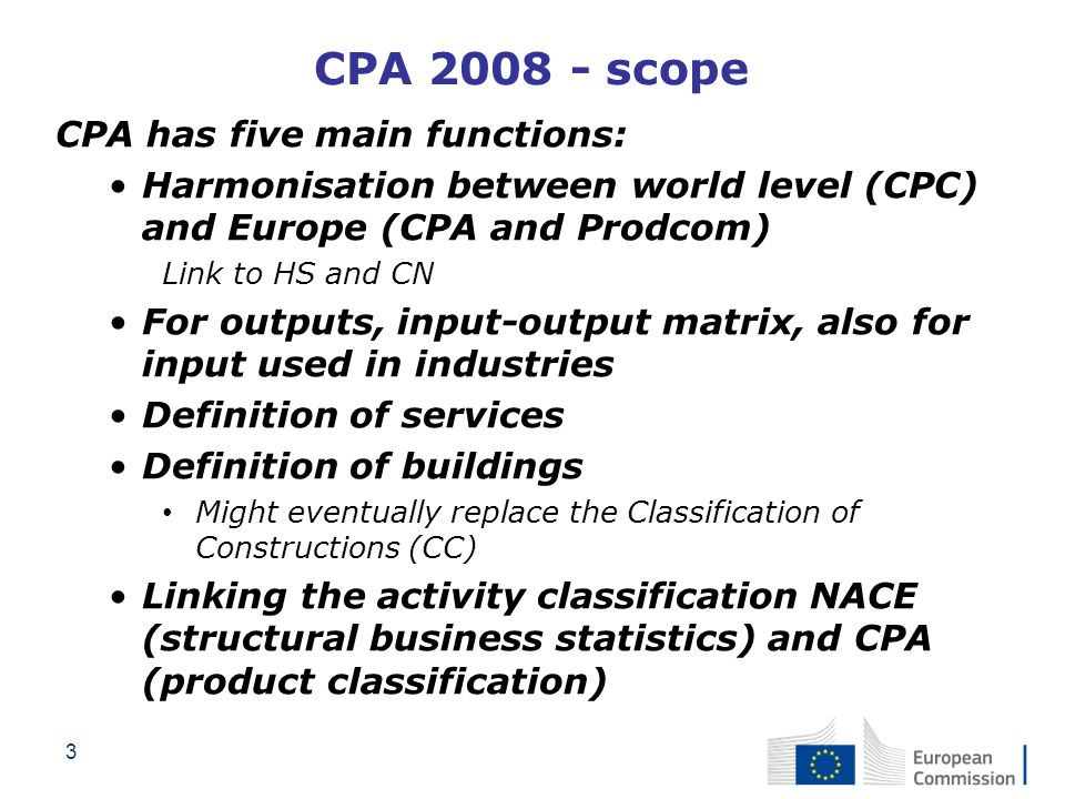 CPA 2008 - scope CPA has five main functions: