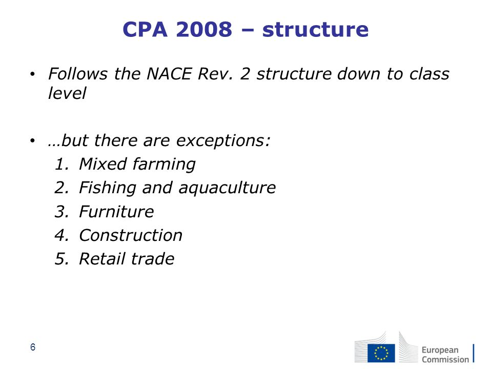 CPA 2008 – structure Follows the NACE Rev. 2 structure down to class level. …but there are exceptions: