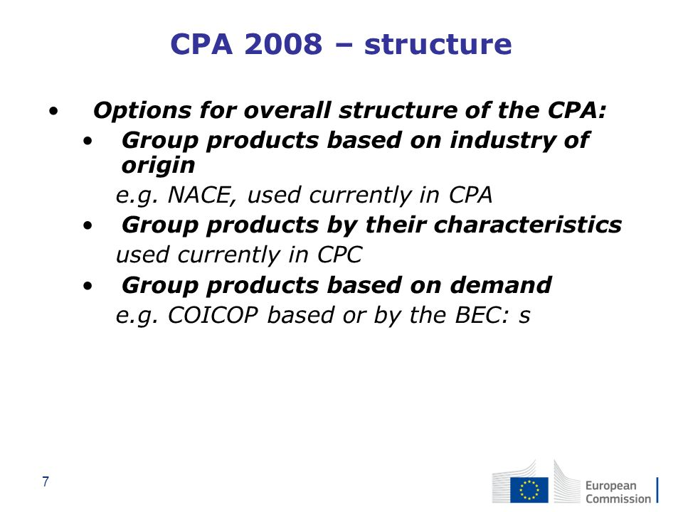 CPA 2008 – structure Options for overall structure of the CPA: