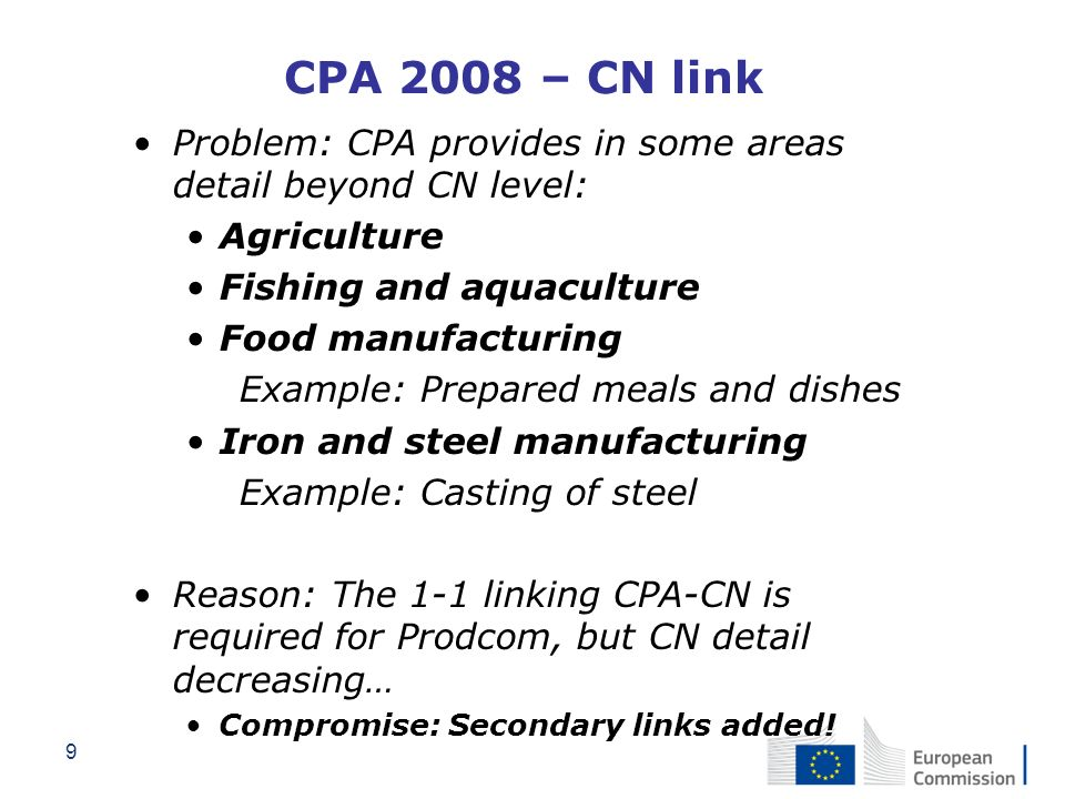 CPA 2008 – CN link Problem: CPA provides in some areas detail beyond CN level: Agriculture. Fishing and aquaculture.