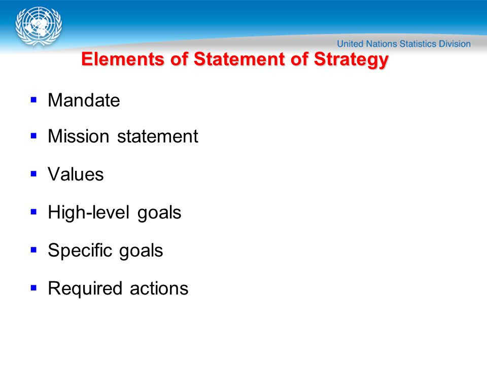 Elements of Statement of Strategy