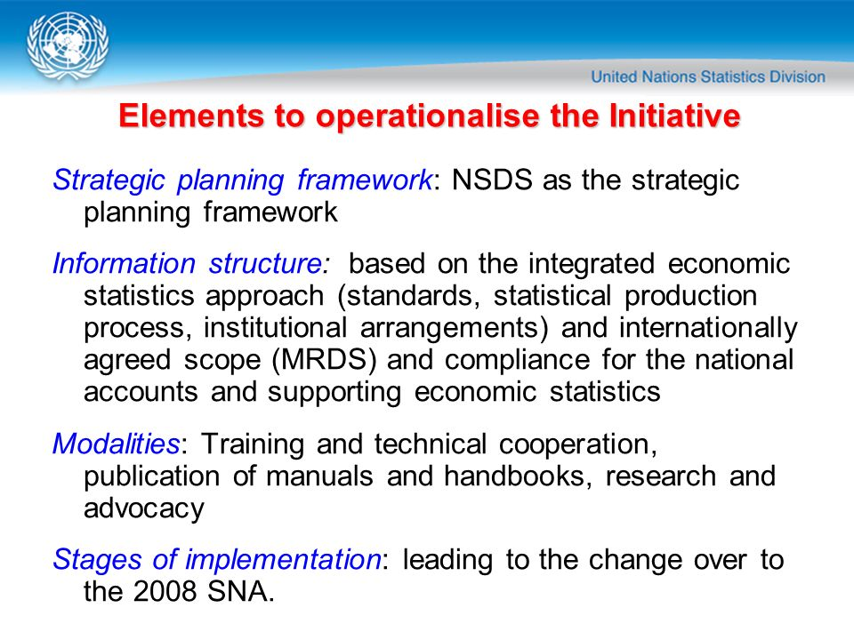 Elements to operationalise the Initiative