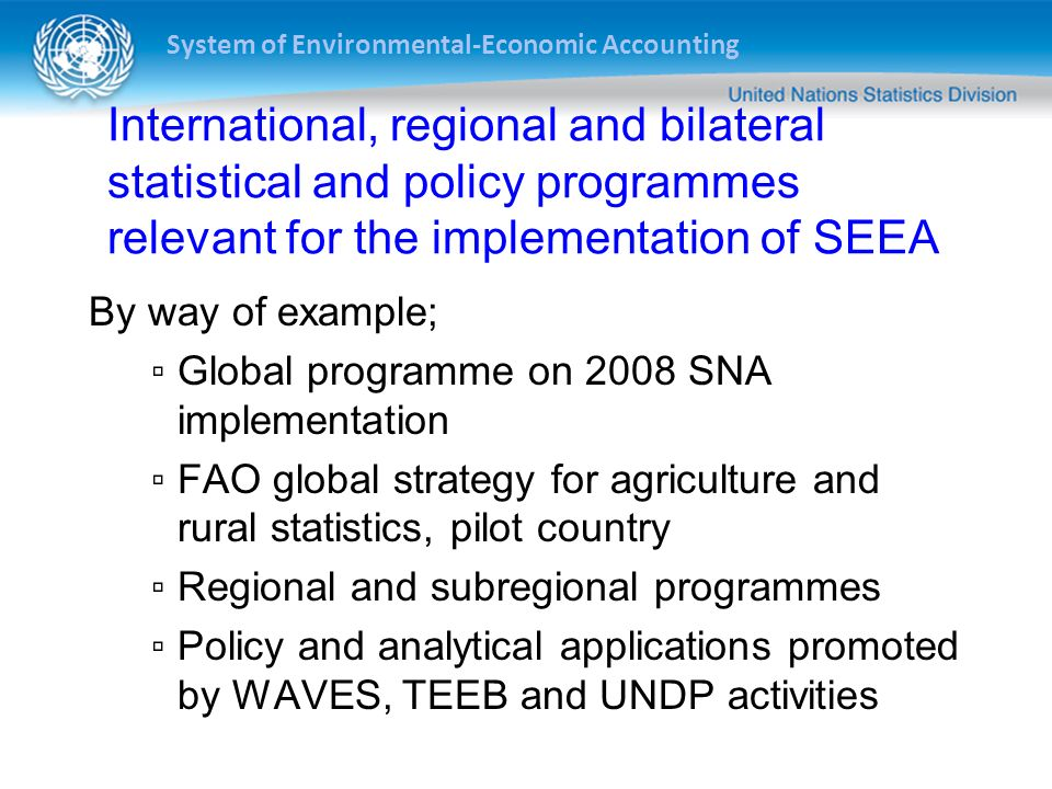 International, regional and bilateral statistical and policy programmes relevant for the implementation of SEEA