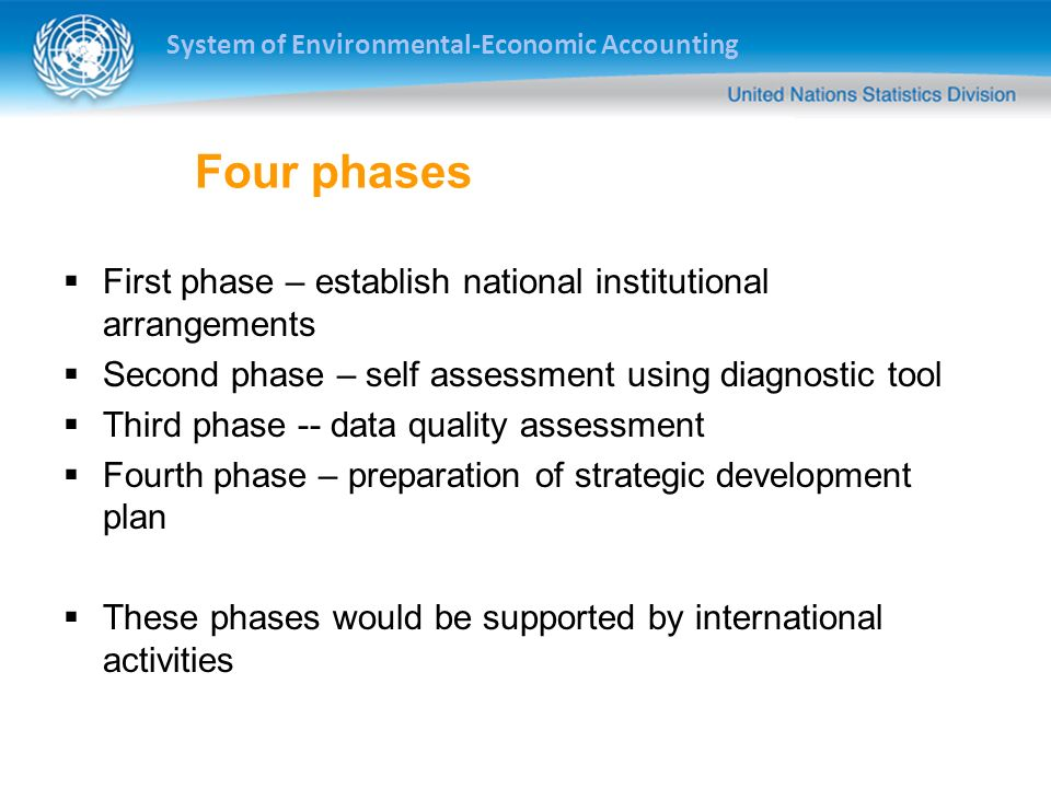Four phases First phase – establish national institutional arrangements. Second phase – self assessment using diagnostic tool.