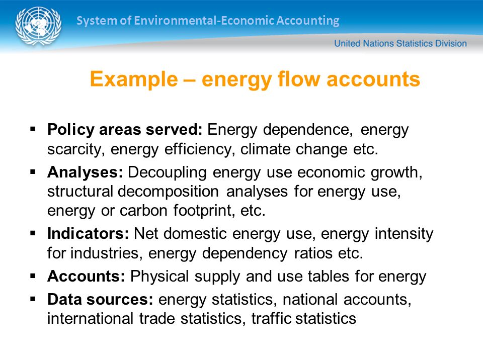 Example – energy flow accounts