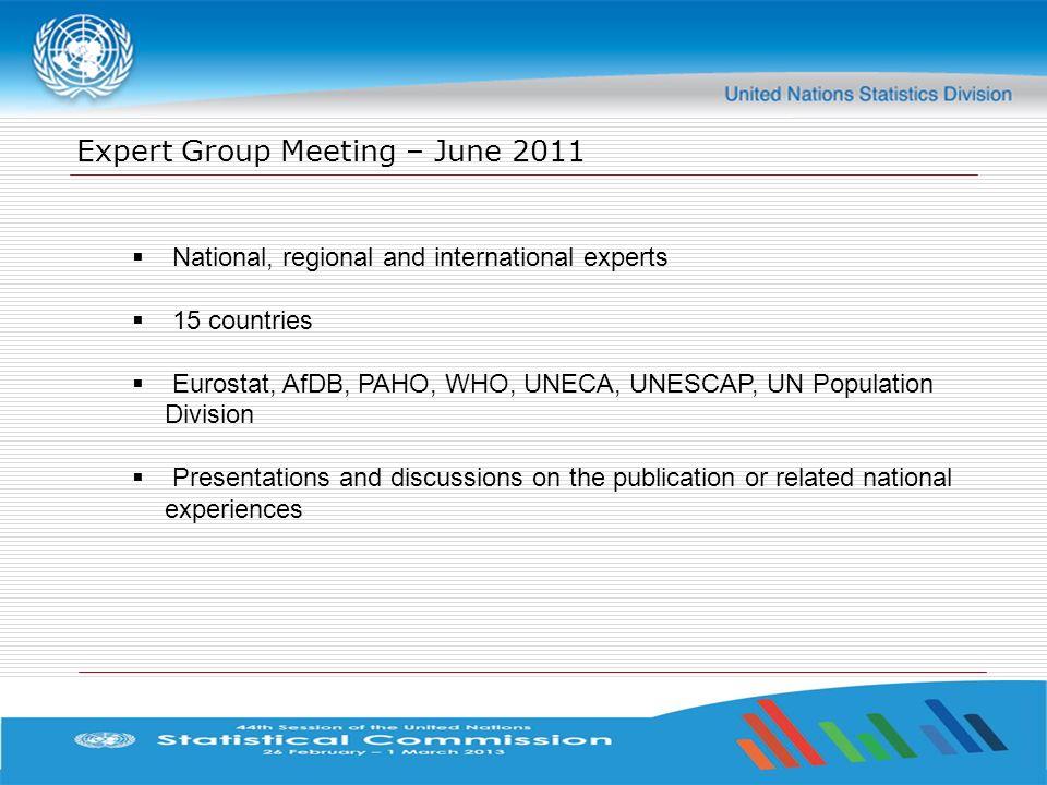 Expert Group Meeting – June 2011