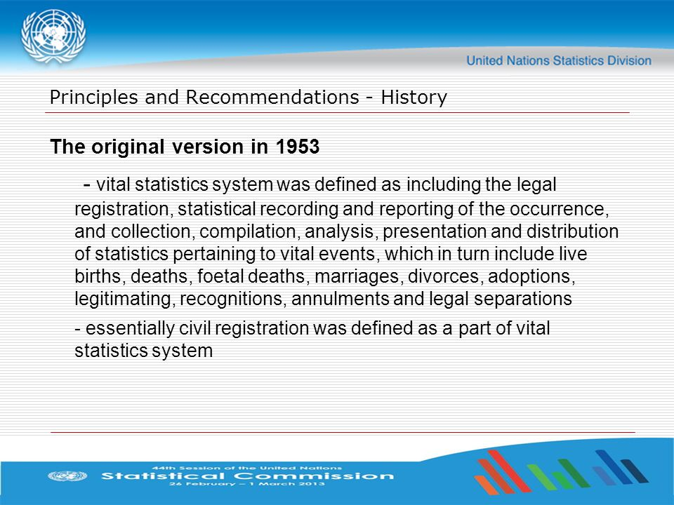Principles and Recommendations - History