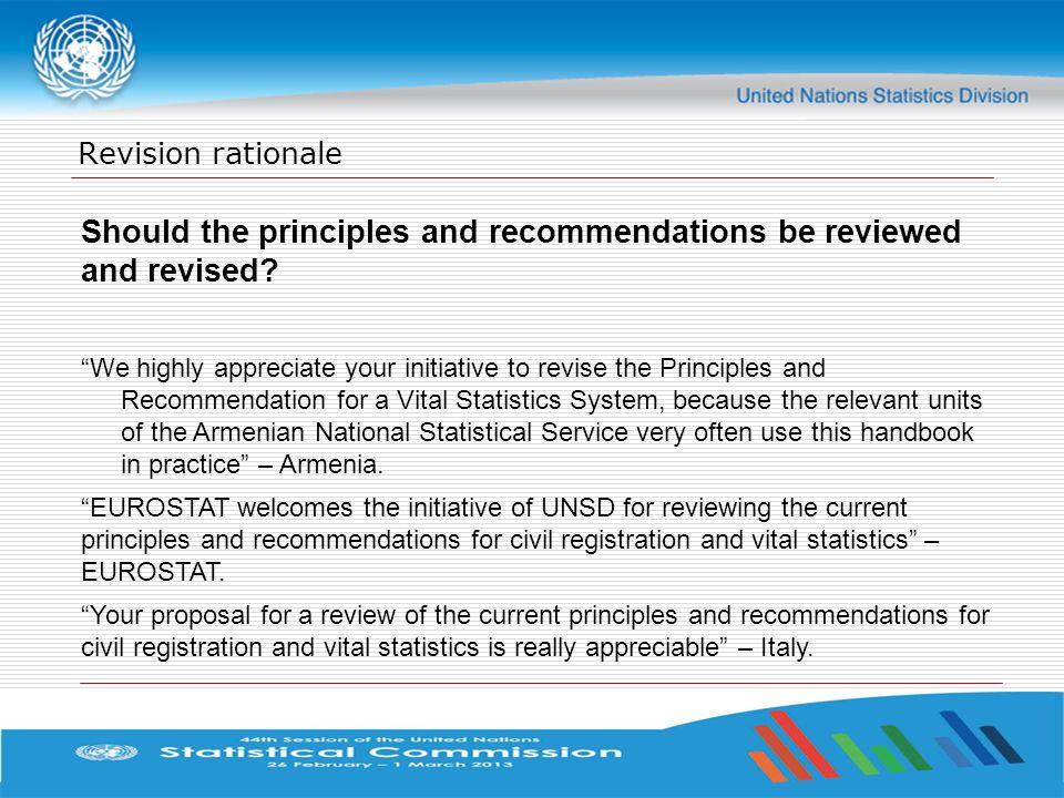 Should the principles and recommendations be reviewed and revised