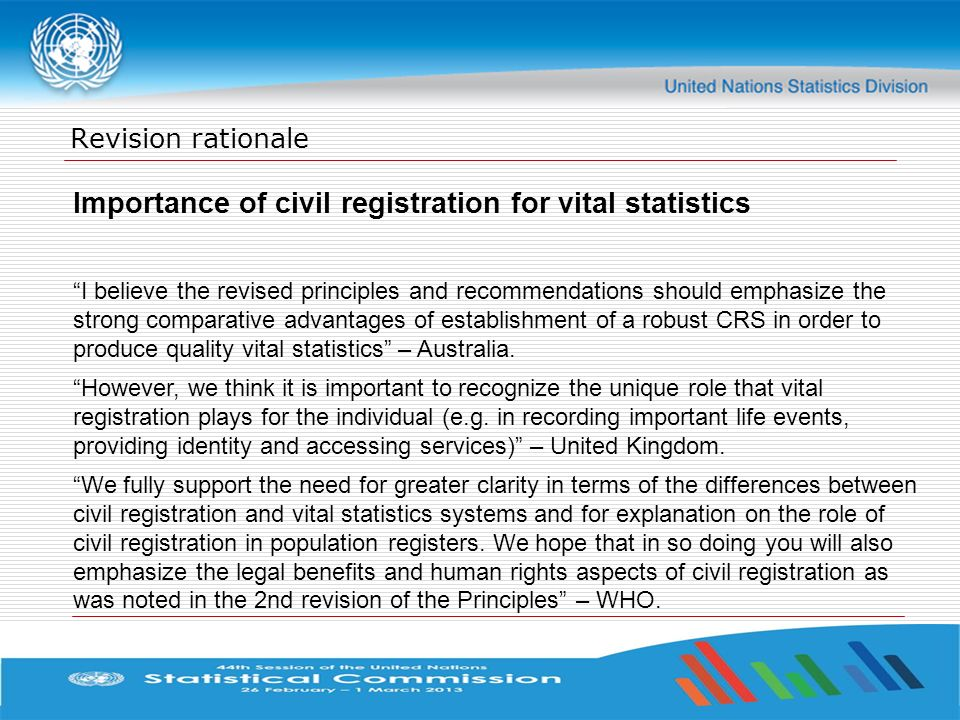 Importance of civil registration for vital statistics