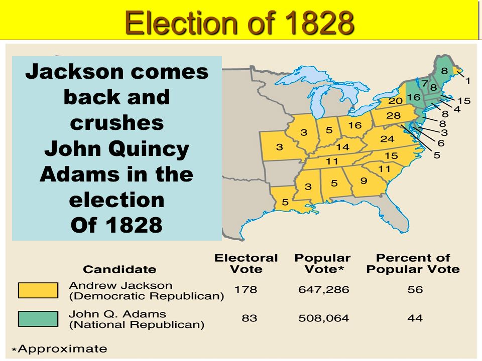 the 1828 election The united states presidential election of 1828 was the 11th quadrennial presidential election, held from friday, october 31, to tuesday, december 2, 1828 it featured a re-match between incumbent president john quincy adams , and andrew jackson , the winner of the electoral college in the election of 1824.