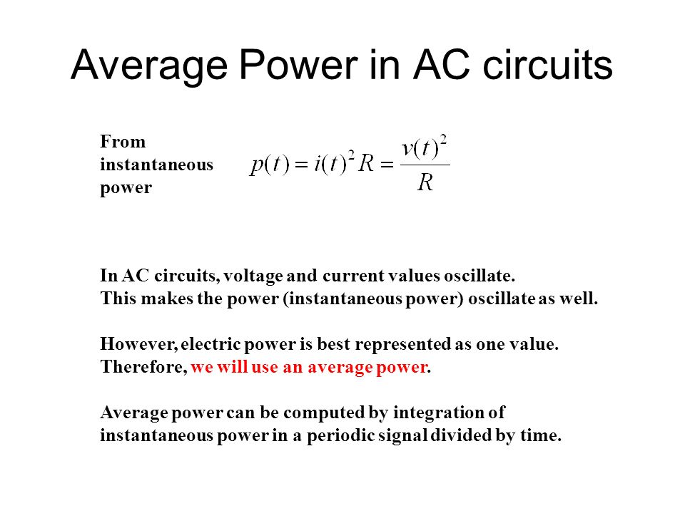 Average Power In AC Circuits