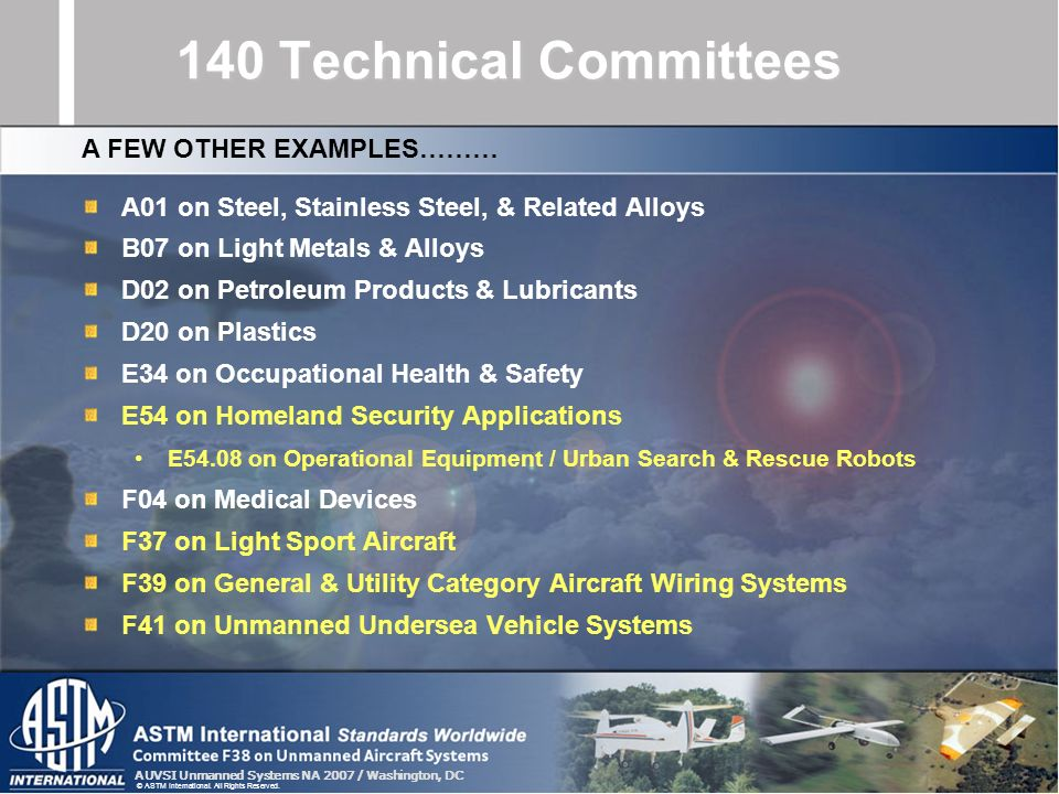 140 Technical Committees A FEW OTHER EXAMPLES………