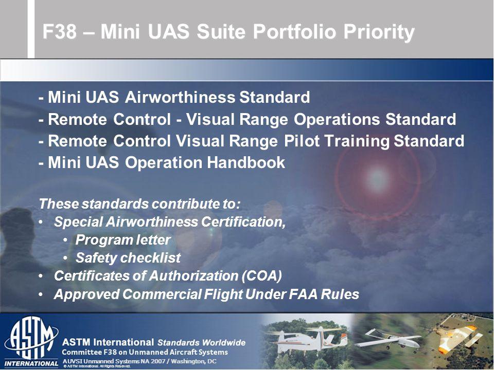 F38 – Mini UAS Suite Portfolio Priority
