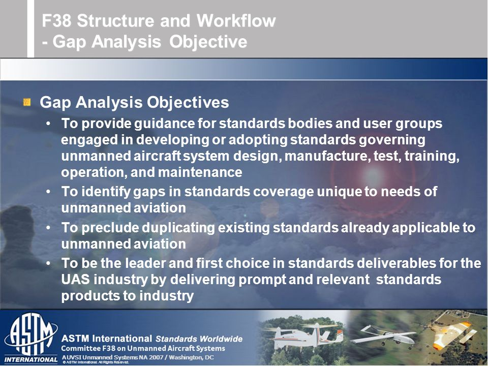 F38 Structure and Workflow - Gap Analysis Objective