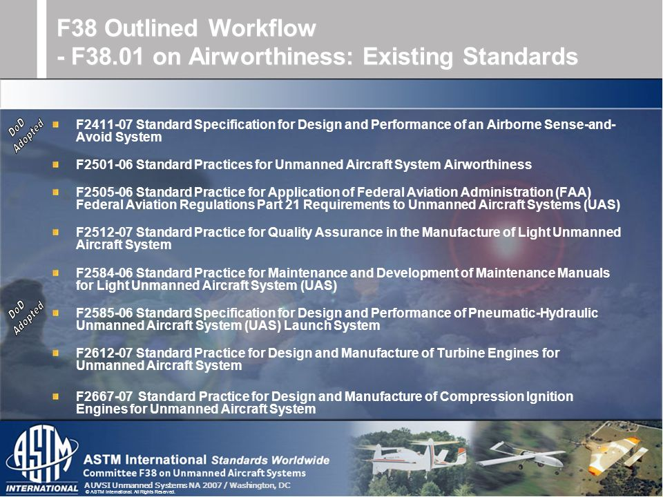 F38 Outlined Workflow - F38.01 on Airworthiness: Existing Standards