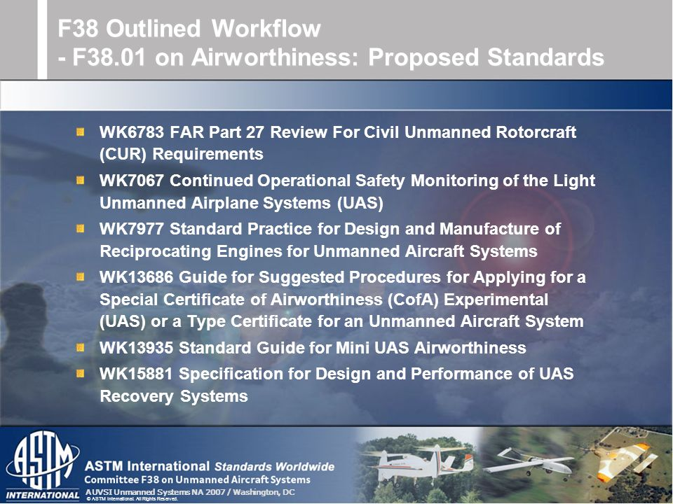 F38 Outlined Workflow - F38.01 on Airworthiness: Proposed Standards