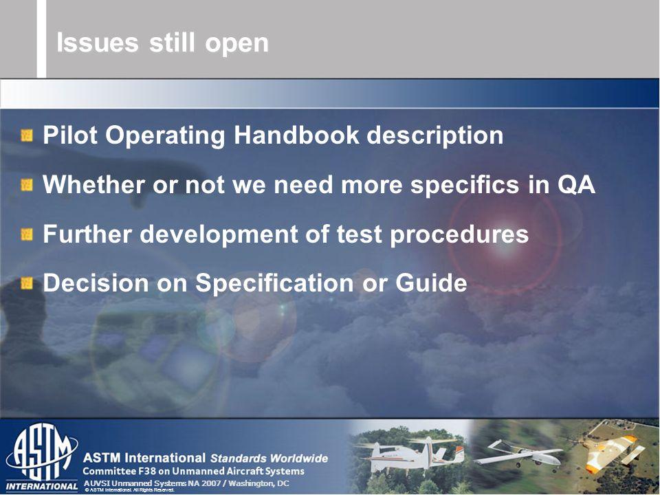 Issues still open Pilot Operating Handbook description