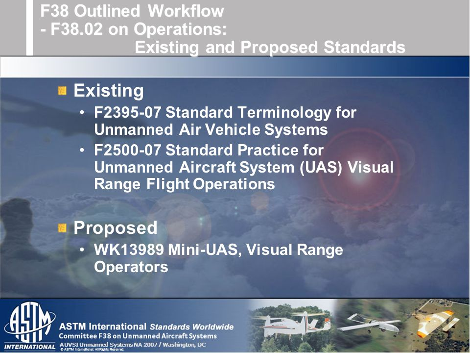 F38 Outlined Workflow - F38.02 on Operations: Existing and Proposed Standards