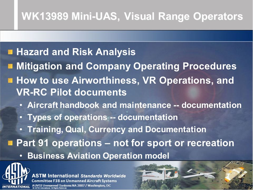WK13989 Mini-UAS, Visual Range Operators