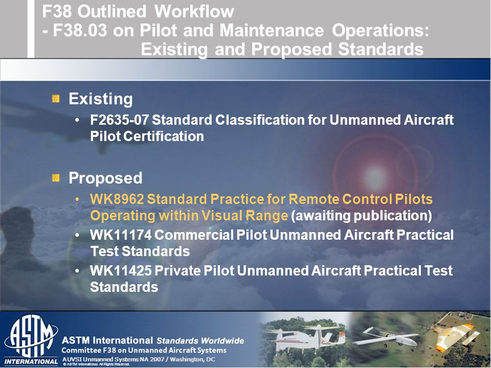 F38 Outlined Workflow - F38.03 on Pilot and Maintenance Operations: Existing and Proposed Standards