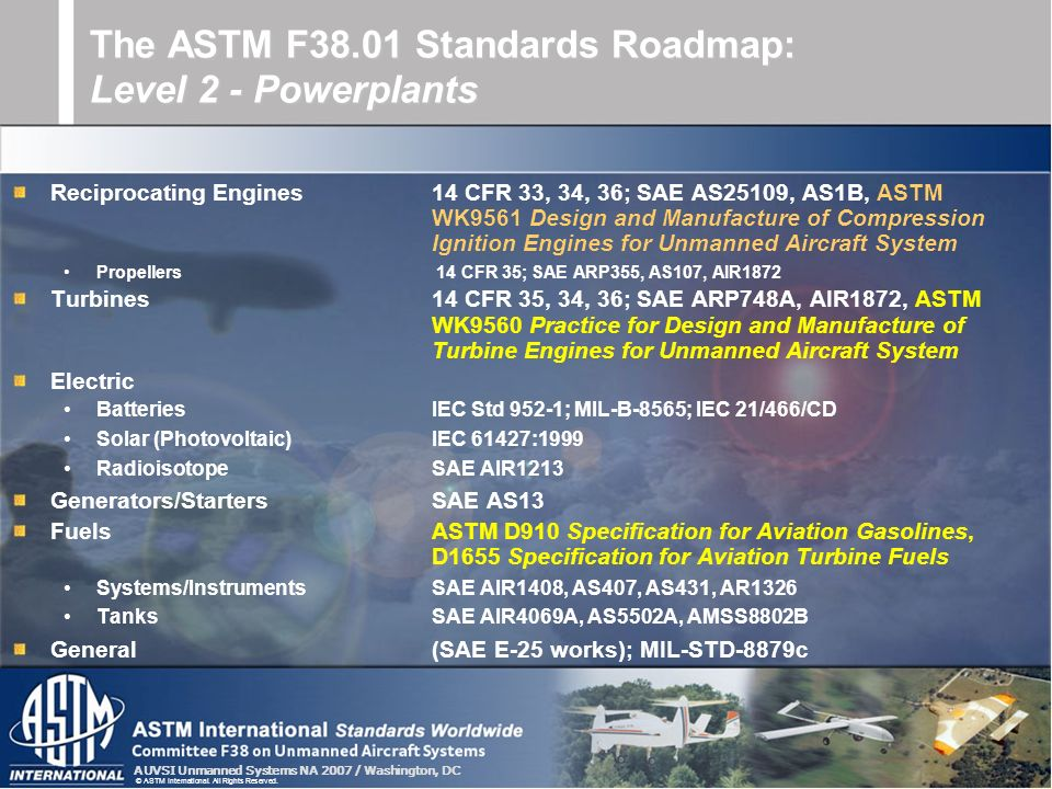 The ASTM F38.01 Standards Roadmap: Level 2 - Powerplants