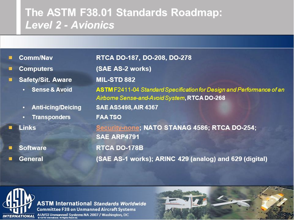 The ASTM F38.01 Standards Roadmap: Level 2 - Avionics