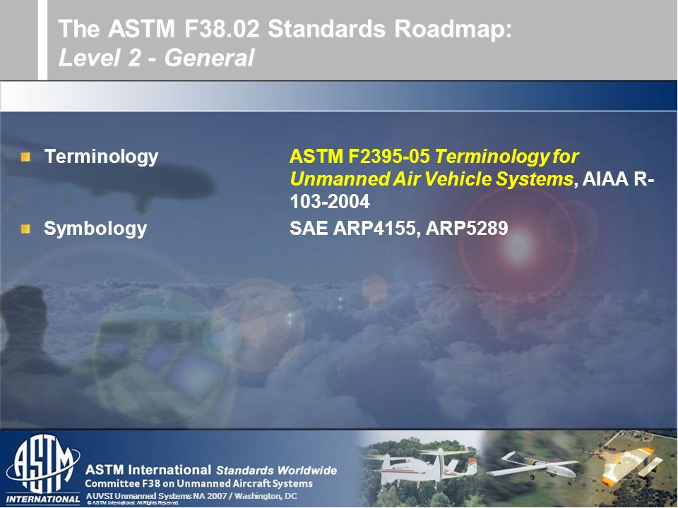 The ASTM F38.02 Standards Roadmap: Level 2 - General