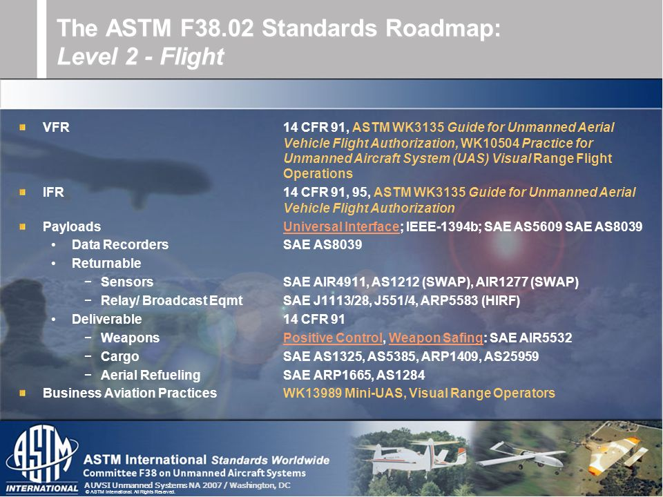The ASTM F38.02 Standards Roadmap: Level 2 - Flight