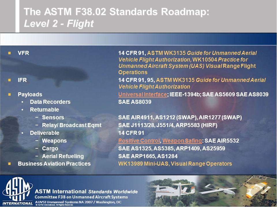 The ASTM F38.02 Standards Roadmap: Level 2 - Flight
