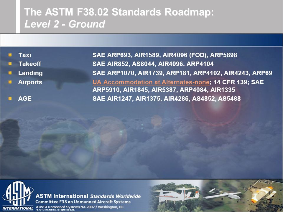 The ASTM F38.02 Standards Roadmap: Level 2 - Ground