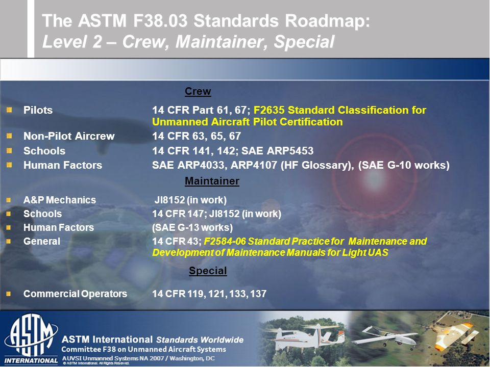 The ASTM F38.03 Standards Roadmap: Level 2 – Crew, Maintainer, Special