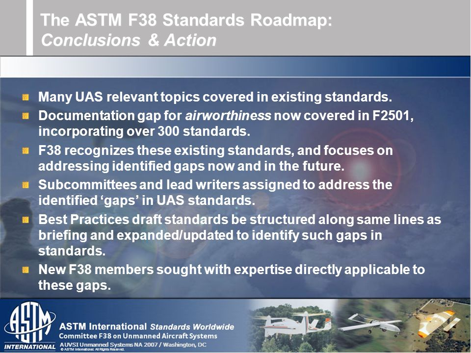 The ASTM F38 Standards Roadmap: Conclusions & Action