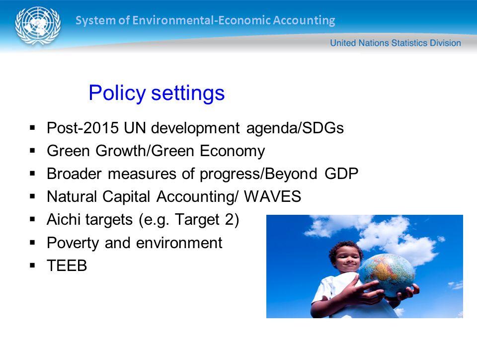 Policy settings Post-2015 UN development agenda/SDGs