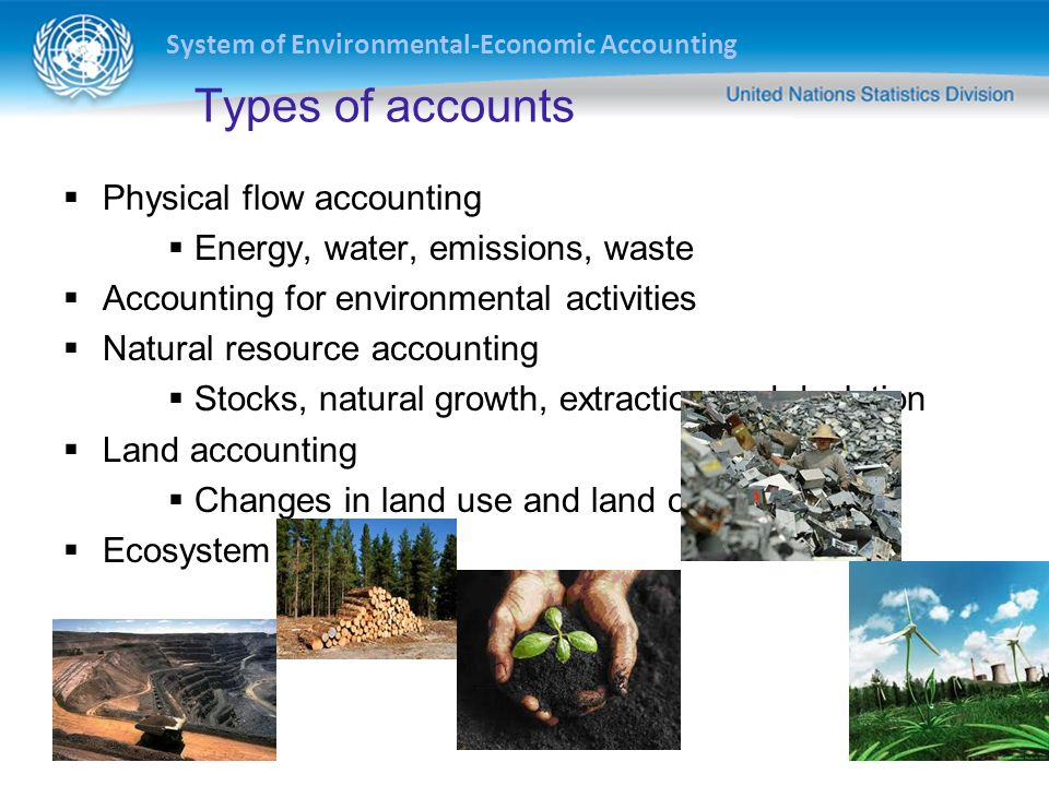 Types of accounts Physical flow accounting