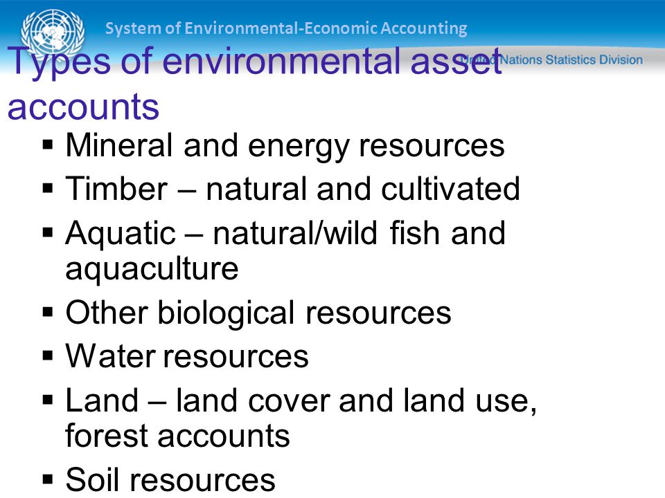 Types of environmental asset accounts