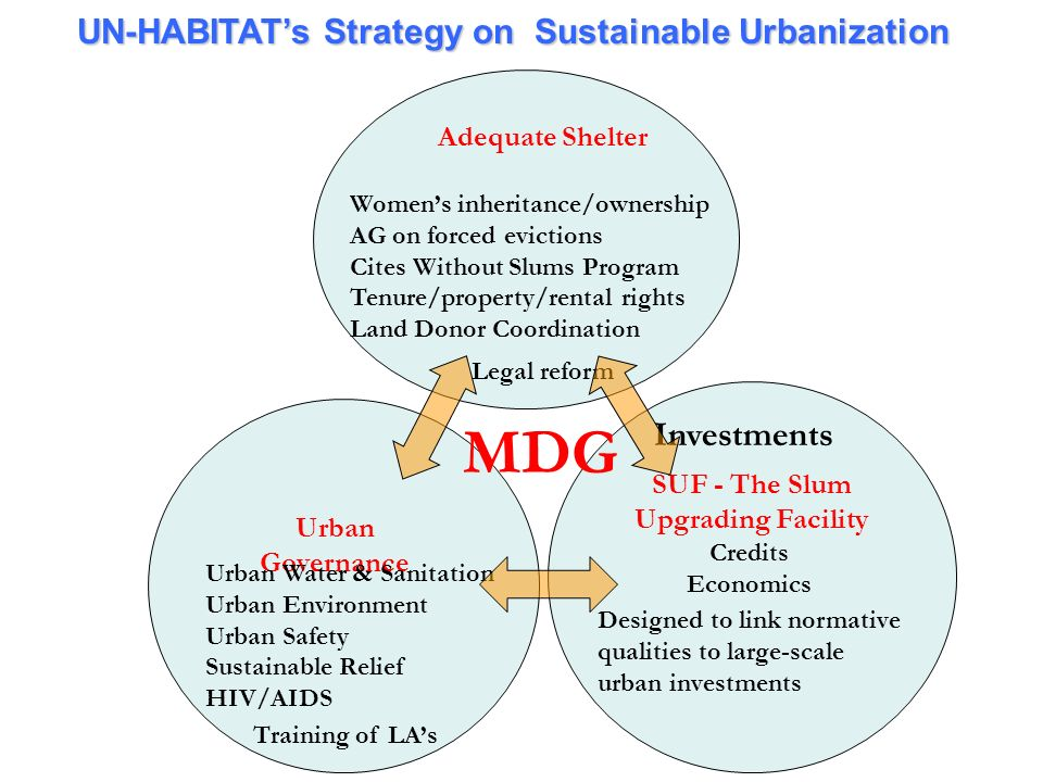 MDG UN-HABITAT's Strategy on Sustainable Urbanization Investments