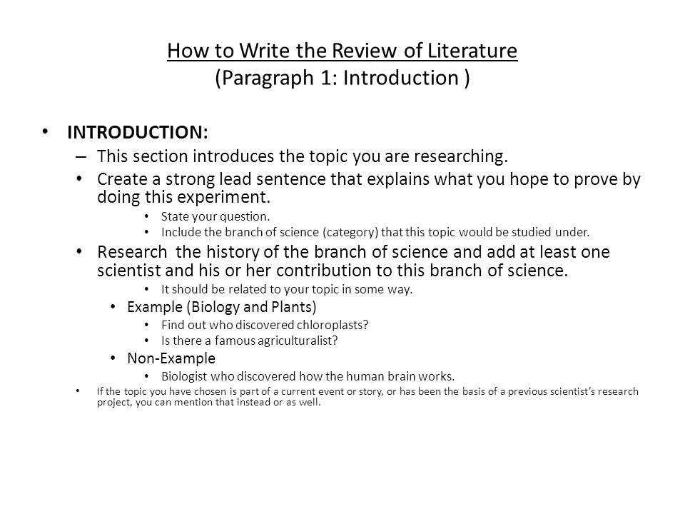 how to write literature review introduction