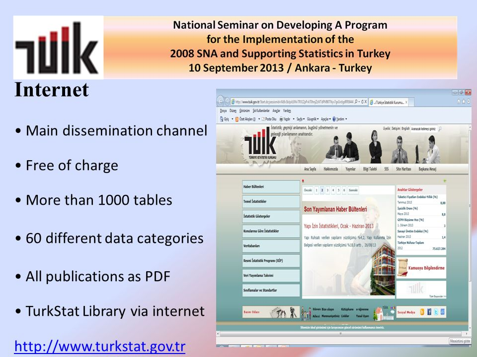 Internet Main dissemination channel Free of charge