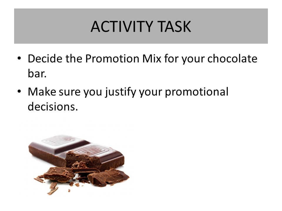 promotion mix chocolate bar It is a chocolate bar, but it is marketed as a snack bar it has a wide range of  product portfolio in its marketing mix with many variations like snickers munch,.