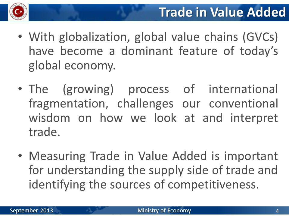 Trade in Value Added With globalization, global value chains (GVCs) have become a dominant feature of today's global economy.