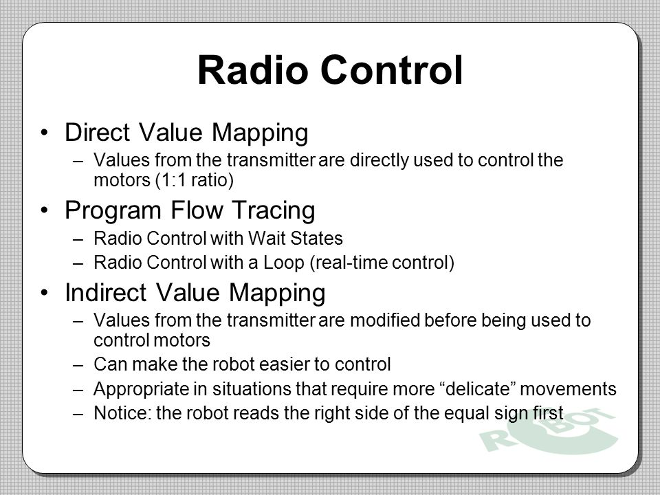 Radio Control Direct Value Mapping Program Flow Tracing